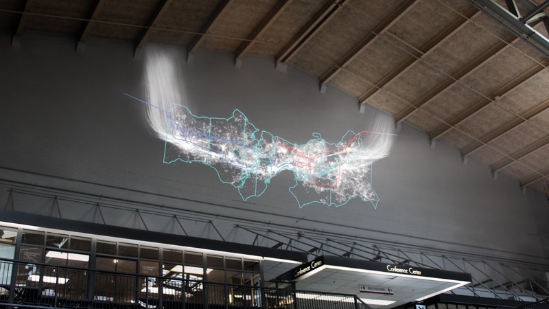 An image of Current, an installation by Adam Frank, as it appears installed at Center House in Seattle Center, Seattle, Washington, USA.