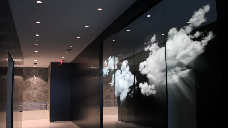 An image of LUCID, an installation by Adam Frank located at 300 Ashland Place in Brooklyn, New York.